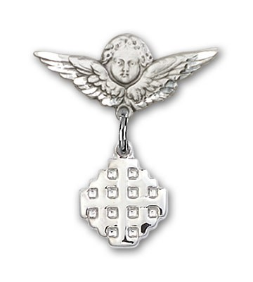 Pin Badge with Jerusalem Cross Charm and Angel with Smaller Wings Badge Pin - Silver tone