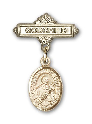 Pin Badge with St. Martin de Porres Charm and Godchild Badge Pin - Gold Tone