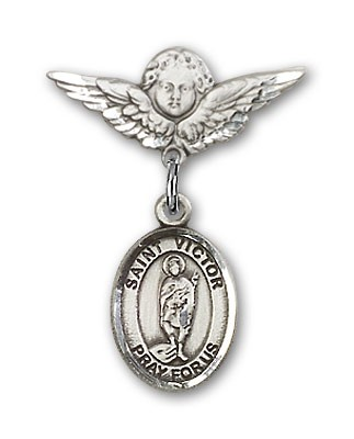 Pin Badge with St. Victor of Marseilles Charm and Angel with Smaller Wings Badge Pin - Silver tone