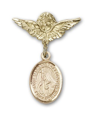 Pin Badge with St. Margaret of Cortona Charm and Angel with Smaller Wings Badge Pin - Gold Tone