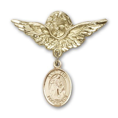 Pin Badge with St. Ann Charm and Angel with Larger Wings Badge Pin - 14K Yellow Gold