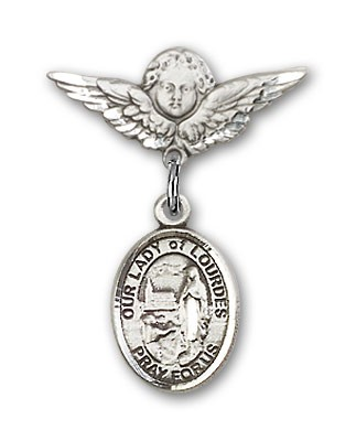 Pin Badge with Our Lady of Lourdes Charm and Angel with Smaller Wings Badge Pin - Silver tone