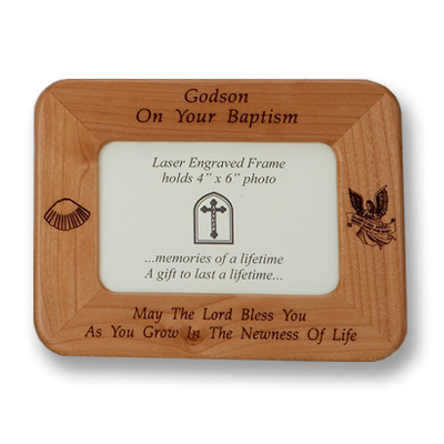 Maple Wood Godson Baptism Photo Frame - Brown