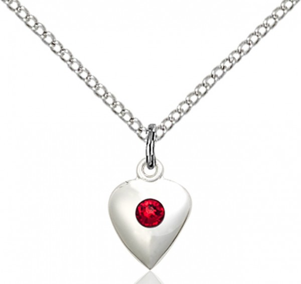 Baby Heart Pendant with Birthstone Options - Ruby Red