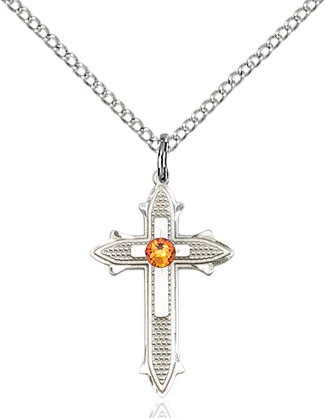 Polished and Textured Cross Pendant with Birthstone Options - Topaz