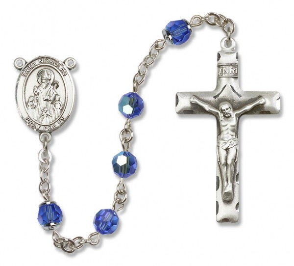 St. Nicholas Sterling Silver Heirloom Rosary Squared Crucifix - Sapphire