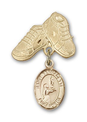Pin Badge with St. Bernadette Charm and Baby Boots Pin - 14K Solid Gold