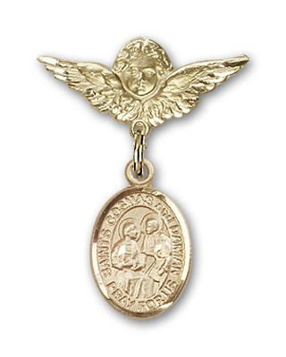 Pin Badge with Sts. Cosmas & Damian Charm and Angel with Smaller Wings Badge Pin - 14K Yellow Gold