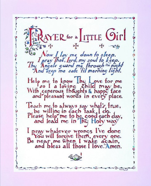 Prayer for a Little Girl Print - Sold in 3 per pack - Multi-Color