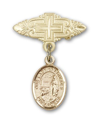 Pin Badge with Our Lady of Lourdes Charm and Badge Pin with Cross - 14K Yellow Gold
