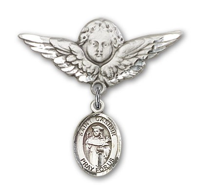 Pin Badge with St. Casimir of Poland Charm and Angel with Larger Wings Badge Pin - Silver tone