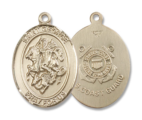 St. George Coast Guard Medal - 14K Solid Gold