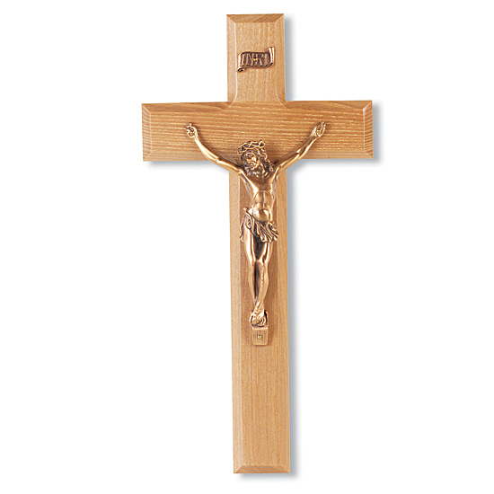 Traditional Oak Wood Wall Crucifix - 10 inch - Brown