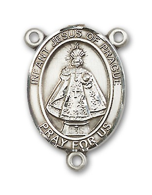 Infant of Prague Rosary Centerpiece Sterling Silver or Pewter - Sterling Silver