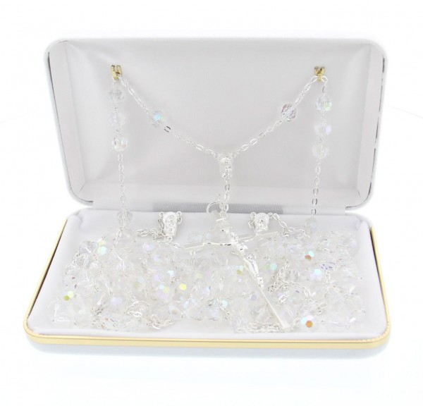 Crystal Lasso Wedding Rosary with Silver-tone Accents - With Deluxe Box