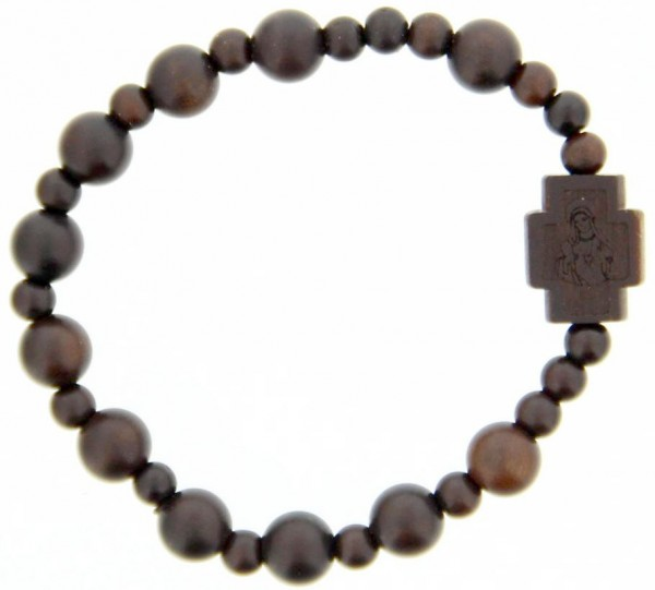 Jujube Wood Bead Rosary Bracelet - 8mm - Brown