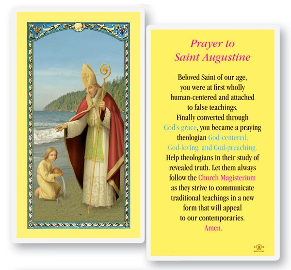 St. Augustine Laminated Prayer Cards 25 Pack - Full Color