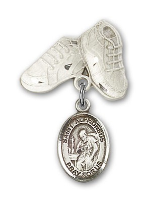 Pin Badge with St. Alphonsus Charm and Baby Boots Pin - Silver tone