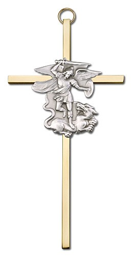 "St. Michael Wall Cross 6"" - Two-Tone Gold"