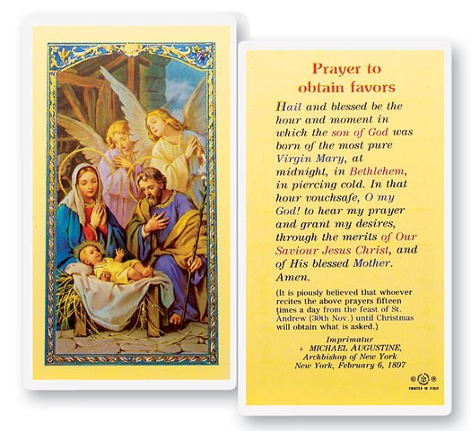 Prayer To Obtain Favors Christmas Laminated Prayer Cards 25 Pack - Full Color