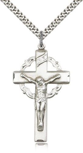 Celtic Crucifix Medal High Polish - Sterling Silver