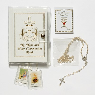 Girl's First Communion Gift Set with Mass Book - White