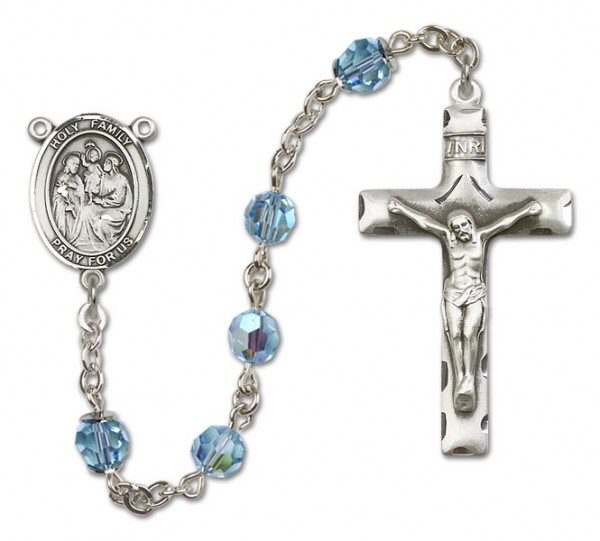 Holy Family Rosary Heirloom Squared Crucifix - Aqua