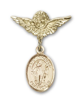 Pin Badge with St. Richard Charm and Angel with Smaller Wings Badge Pin - 14K Solid Gold
