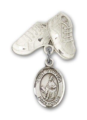 Pin Badge with St. Dymphna Charm and Baby Boots Pin - Silver tone