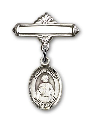 Pin Badge with St. Philip the Apostle Charm and Polished Engravable Badge Pin - Silver tone