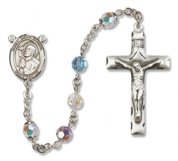 St. Rene Goupil Sterling Silver Heirloom Rosary Squared Crucifix - Multi-Color