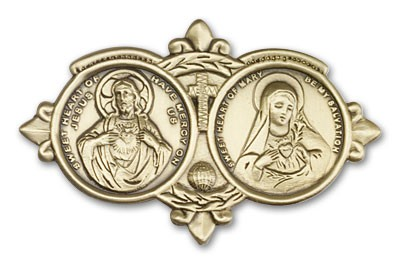 Sacred Heart of Jesus and Immaculate Heart of Mary Visor Clip - Antique Gold