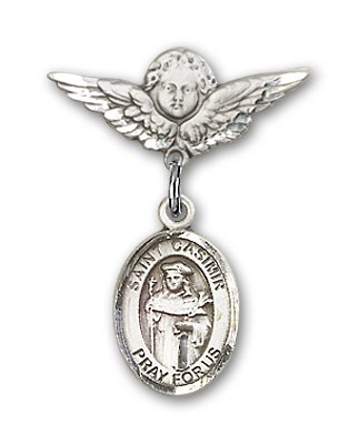 Pin Badge with St. Casimir of Poland Charm and Angel with Smaller Wings Badge Pin - Silver tone