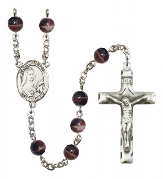 Men's St. Therese of Lisieux Silver Plated Rosary - Brown