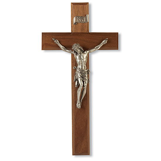 Natural Cherry Wall Crucifix - 11 inch - Brown