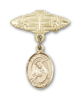 Pin Badge with St. Rose of Lima Charm and Badge Pin with Cross - 14K Yellow Gold