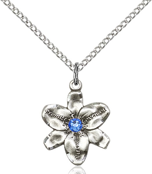 Small Five Petal Chastity Pendant with Birthstone Center - Sapphire