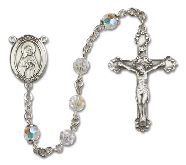 St. Rita of Cascia Sterling Silver Heirloom Rosary Fancy Crucifix - Crystal