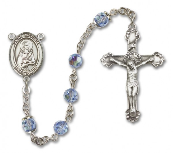 St. Victoria Sterling Silver Heirloom Rosary Fancy Crucifix - Light Sapphire
