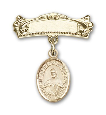 Pin Badge with Scapular Charm and Arched Polished Engravable Badge Pin - Gold Tone