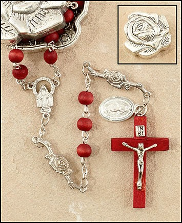 Scented Rose Petal Rosary - Red - Red | Silver
