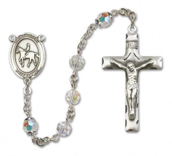 St. Kateri Rosary with Equestrian Heirloom Squared Crucifix - Crystal
