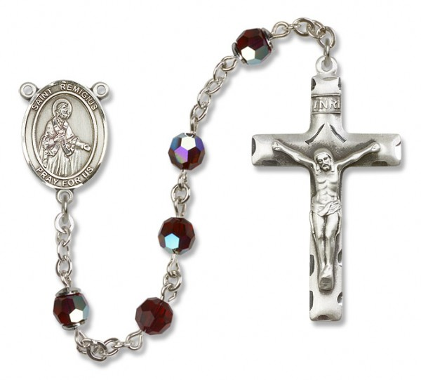 St. Remigius Sterling Silver Heirloom Rosary Squared Crucifix - Garnet