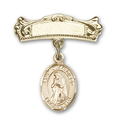 Pin Badge with St. Juan Diego Charm and Arched Polished Engravable Badge Pin - Gold Tone