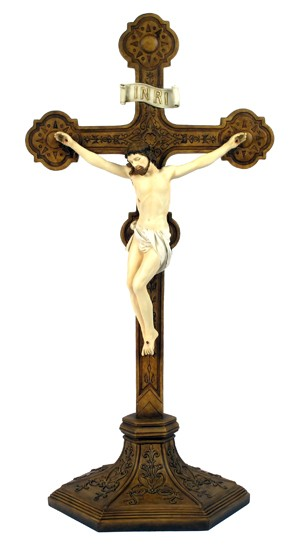 Hand Painted Standing Bronzed Resin Crucifix - 22 Inches - Multi-Color