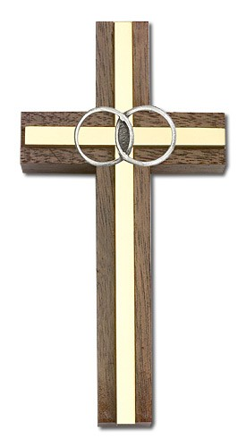 "Marriage Cross with Eternity Rings in Walnut 4"" - Two-Tone Gold"