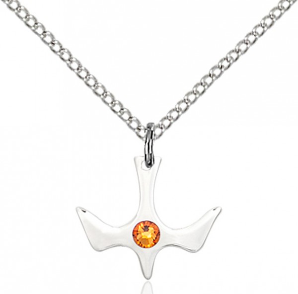 Holy Spirit Pendant with Birthstone Options - Topaz