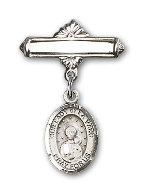 Pin Badge with Our Lady of la Vang Charm and Polished Engravable Badge Pin - Silver tone