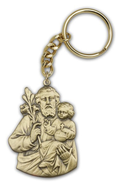 St. Joseph Keychain - Antique Gold