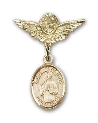 Pin Badge with St. Placidus Charm and Angel with Smaller Wings Badge Pin - 14K Yellow Gold